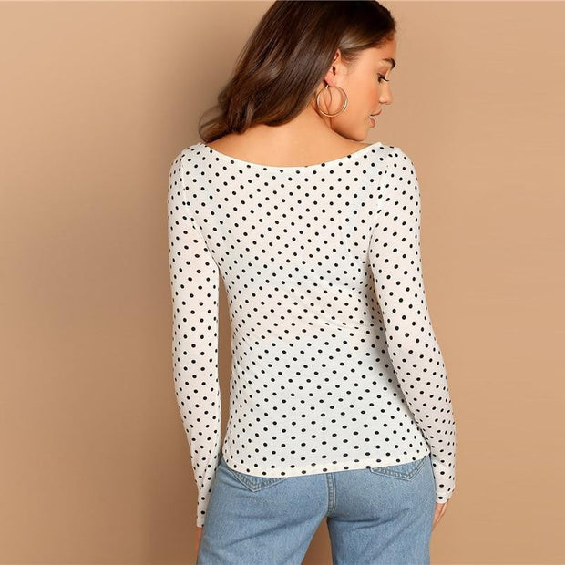 OutFancy White Polka Dot Print T-shirt - OutFancy
