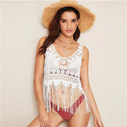 NEVER LET GO White Fringe Hem Top - OutFancy