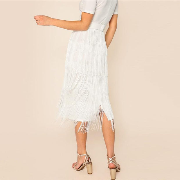 OutFancy White Elegant Layered Fringe Midi Dress - outfancy