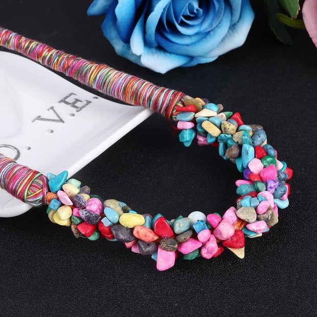 The Boho Multi-Color Natural Stone Choker - OutFancy