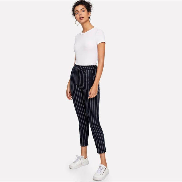 BLACK HEARTED Pinstripe Pants - OutFancy