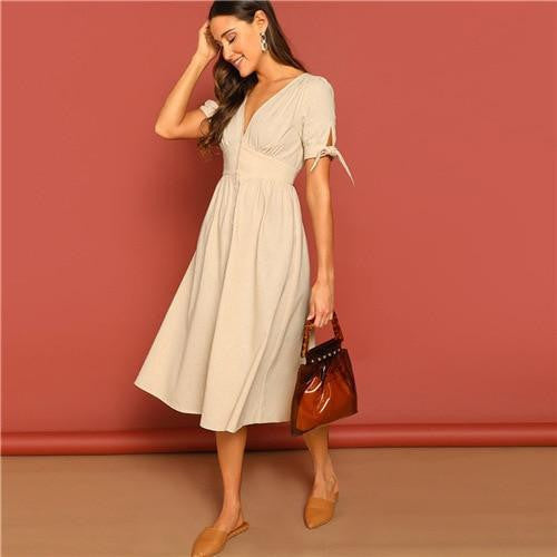 SPEAK EASY TO ME Elegant Deep V Neck Dress - outfancy