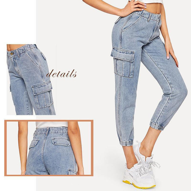 JUST KISS ME Flap Pocket Jeans - OutFancy