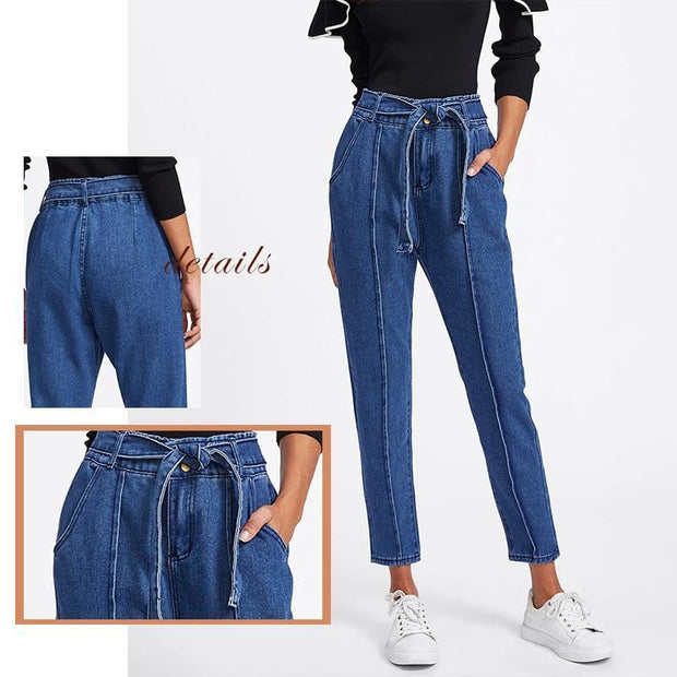 THE RIGHT ANGLE Navy Tie Jeans - OutFancy