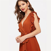 MADE WITH CLASS Rust Ruffle Trim Pleated Wrap Dress - OutFancy