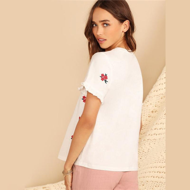 DOING GOOD Embroidery Floral Ruffle Cuff Tee - OutFancy