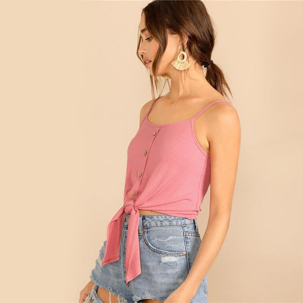 SO WE CAN MAKE UP Pink Cami Top - outfancy
