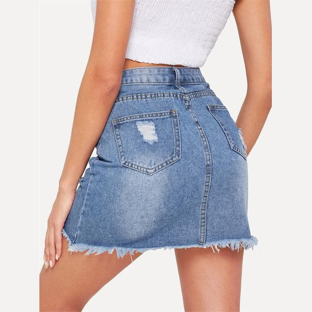 LOVE MY WAY Ripped Denim Skirt - OutFancy