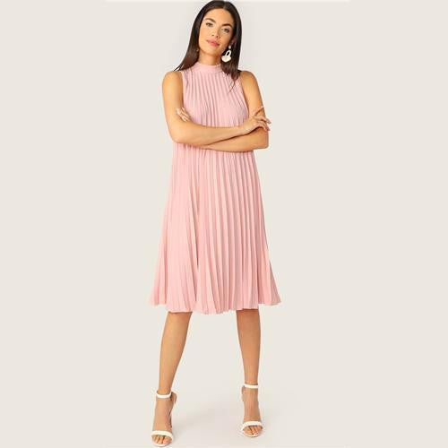 OutFancy Cute Back Pleated MIDI Dress - outfancy