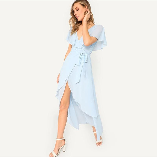 MAKE A SCENE Flutter Sleeve Maxi Dress - OutFancy