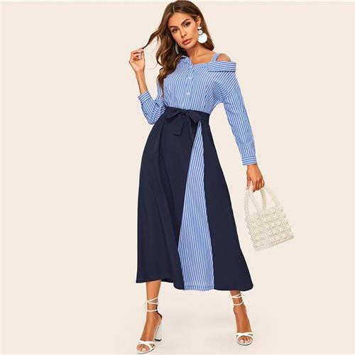 ABOVE THE BASICS Asymmetrical Neck Shirt Maxi Dress - OutFancy