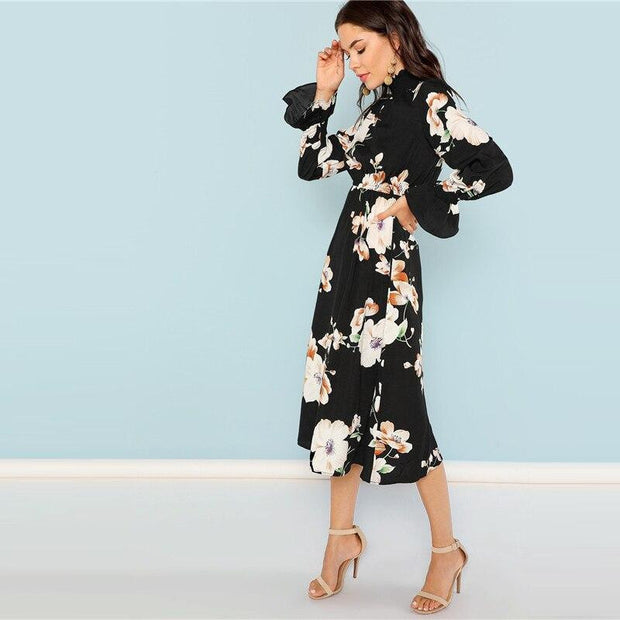 TAKE ME TO THE ISLANDS Floral Midi Dress - outfancy