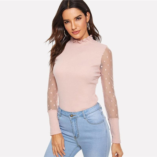 I AM A NOVELTY Pink Dot Mesh Shirt - OutFancy
