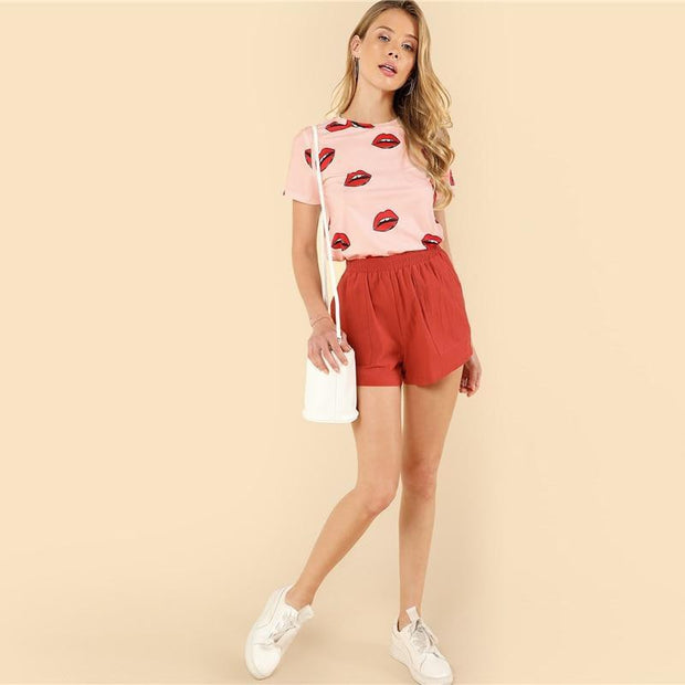 CASUAL LOVER Pink Tee - OutFancy