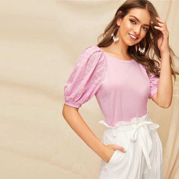 WASTING NO TIME Pink Puff Raglan Sleeve Top - outfancy
