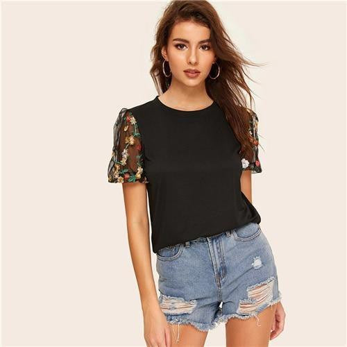 MY FAVORITE Black Floral Embroidery Tee - OutFancy