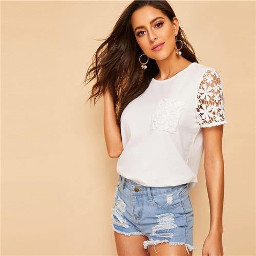 MAKE YOU WANT Guipure Lace Top - OutFancy