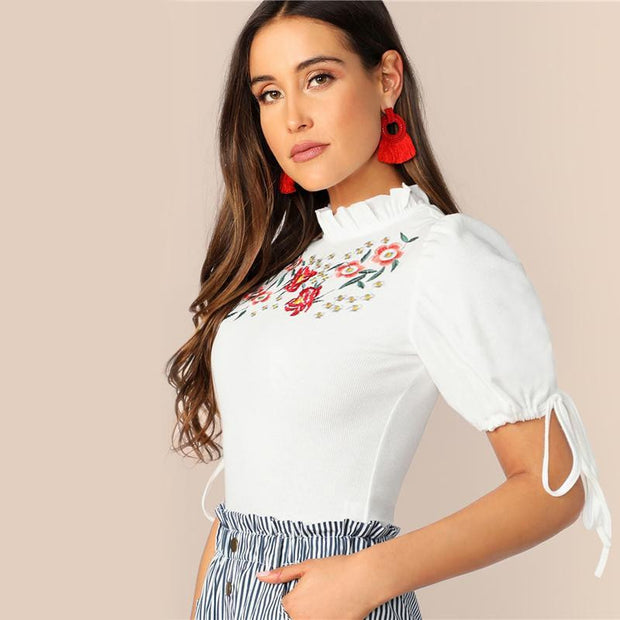 LOVE AND ATTENTION Embroidery Fit Tee - OutFancy