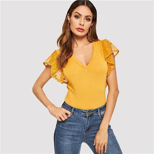 MY MOMENT Mesh Butterfly Sleeve Top - OutFancy