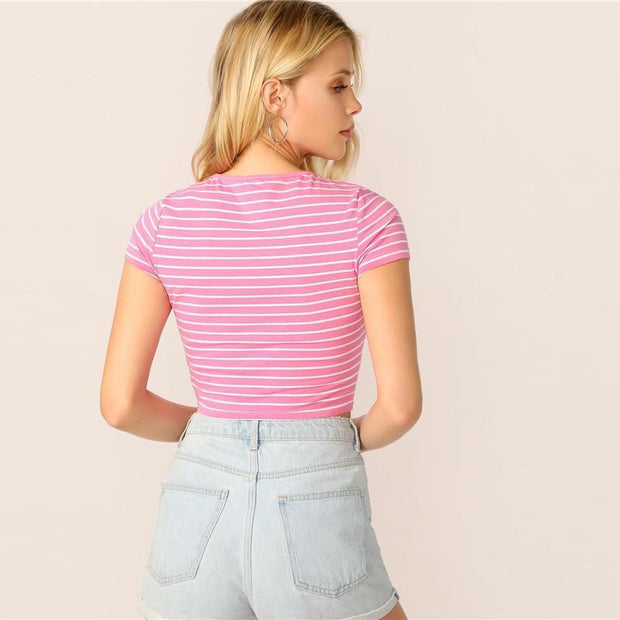 HEY YOU  Pink Striped Crop - OutFancy