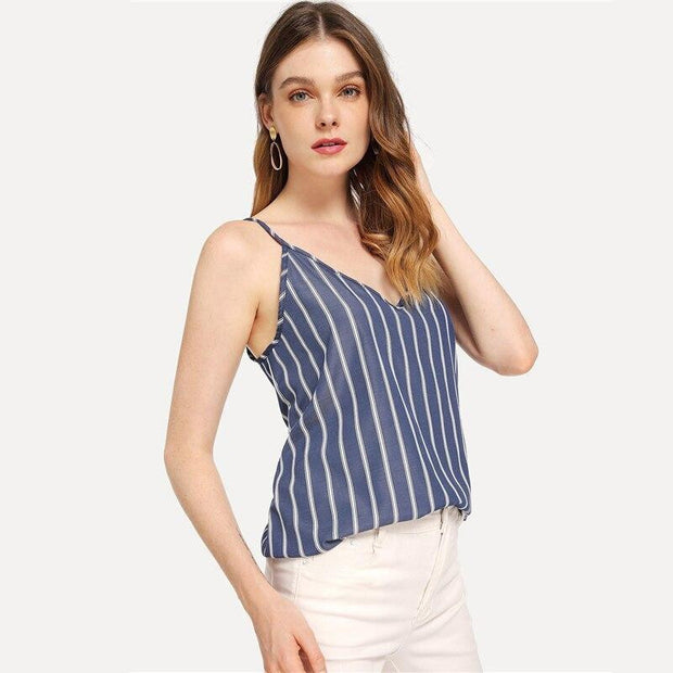 ON THE RUN Striped Cami Top - OutFancy