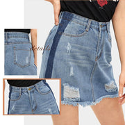 NEVERMIND Faded Denim Skirt - OutFancy