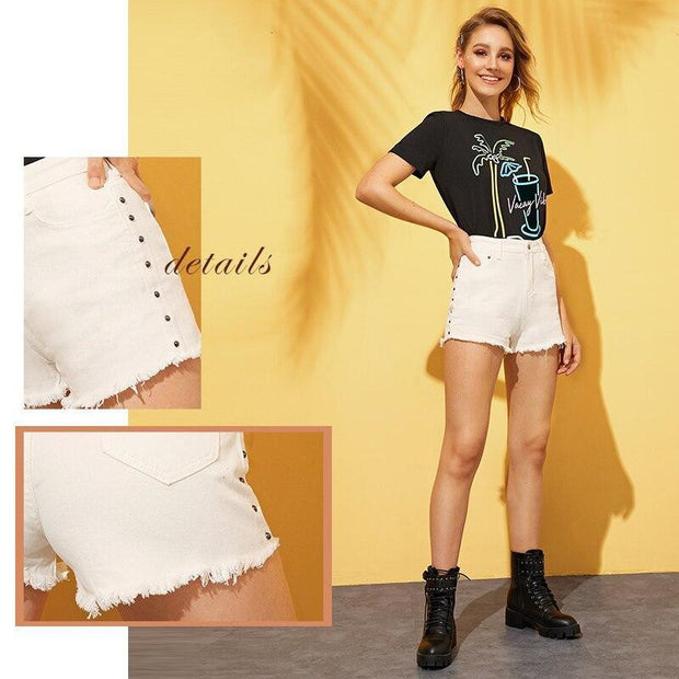 JUST CHILLIN  Studded Denim Shorts - OutFancy