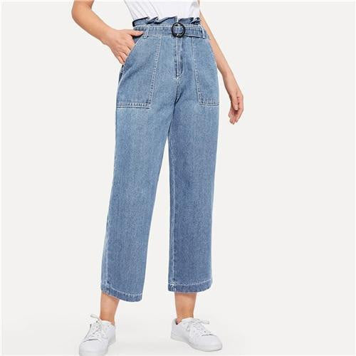 JUST KISS ME Paperbag Waist Ring Belted Jeans - OutFancy