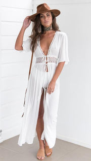 White HEART SWIM COVER UP DRESS - OutFancy