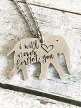 Elephant necklace - Special necklace keepsake for lost pet - hand stamped necklace