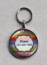 Multi Striped ID One Inch #CT2052 - One Inch Tag - Cute for medium Dogs like Basset Hounds, Bulldogs, and Spaniels!!