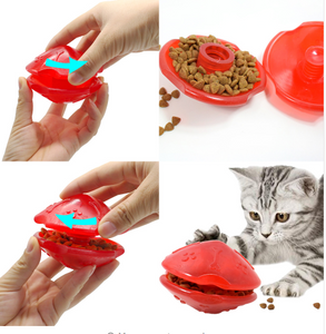 Dog or Cat Food Ball: Interactive Slow Feed Toy Pet - Treat Ball and Food Dispensing Toy for Dogs Cats in Blue or Red