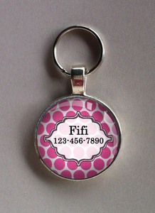 Pink Polka Dotted Pet ID ST4456 - Standard Pet Tag - Cute for Large Dogs like Labs, Pitt Bulls, and Golden Retreivers!!