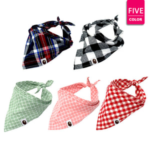 Set of 5 Dog Bandanas: Plaid Pet Scarf for Dogs great for Small, Medium, and Large Dogs