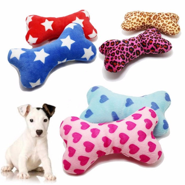 Cute Plush Pet: Dog Squeakers  - Squeaky Toy for Small Big and Small Dog Puppy Chew Play Bone Toy