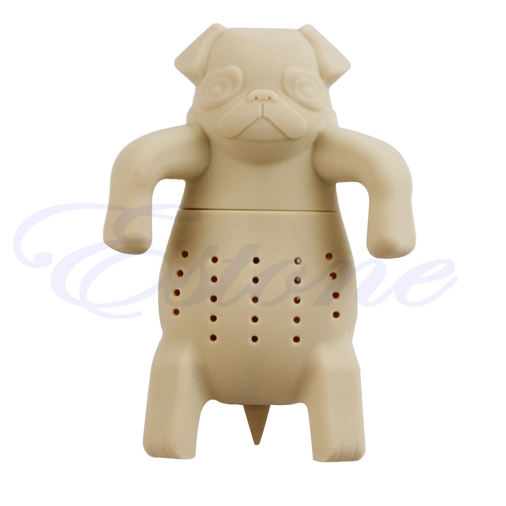 Silicone Coffee Tea Infuser Cute Animal Pug Teapot Spice Herbal Strainer Filter