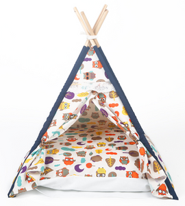 Pet Tent: Owl Printed Indoor Teepee for Dogs and  Cats - Tent House with Bed and Cushion - Kitty Cozy Cave