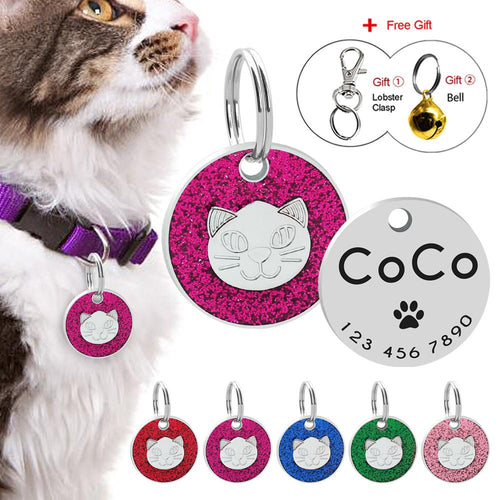 Cat's Personalized Glitter Anti-Lost ID Tag