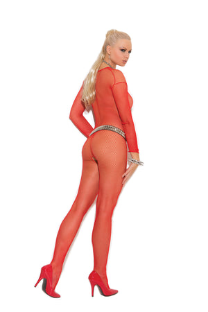 back of red Fishnet long sleeve bodystocking 1615