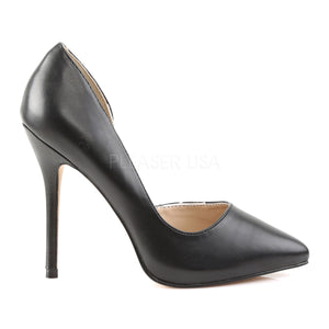 side view Open-sided black pump shoe with 5-inch high heel Amuse-22