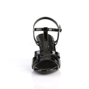 front of black T-strap sandal shoe with 3-inch heel Belle-322