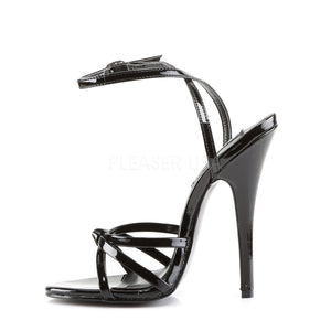 side of black strappy sandal shoe with 6-inch heel Domina-108
