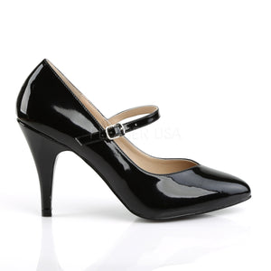 side view of black Mary Jane pumps with 4-inch spike heel Dream-428