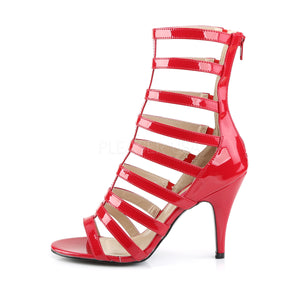 side view of red strappy ankle boot with 4-inch spike heel Dream-438