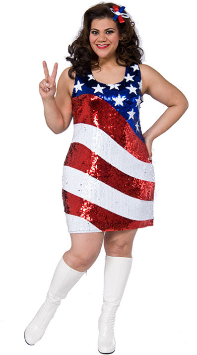 DY-19505 American Flag Sequin Dress