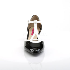 front of black and white T-Strap pump shoes with 2-inch heels Fab-428