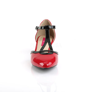 front of red T-Strap pump shoes with 2-inch heels Fab-428