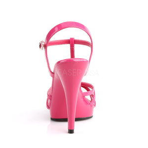 back of strappy pink platform sandals with 4-inch stiletto heels Flair-420