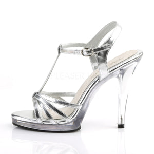 side view of silver platform sandals with 4-inch stiletto heels Flair-420