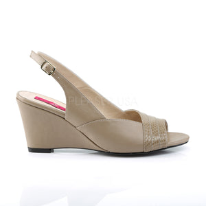 side of taupe slingback wedge peep toe sandals with 3-inch heel Kimberly-01SP